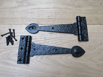 """PAIR OF SPEAR HEAD cast iron door gate t tee hinges old English cottage style 9"""""""