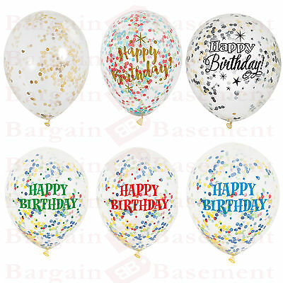 """6 x CONFETTI FILLED BALLOONS 12"""" Helium Birthday Party Wedding Decorations"""