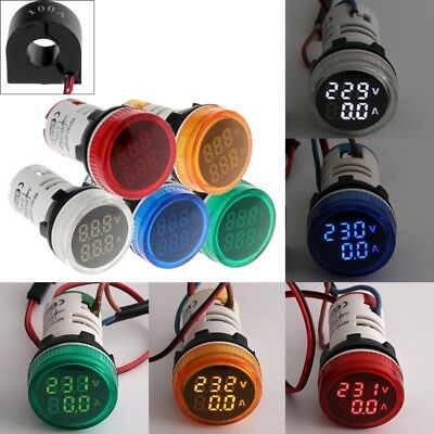 2in1 22mm AC50-500V 0-100A Amp & Voltmeter Voltage Ammeter Current Meter with CT