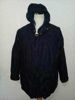 Mens BARBOUR Hooded Durham WAXED Jacket Navy Size 38