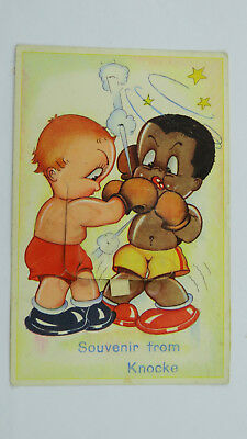 Vintage Pull Out Novelty Postcard Knokke Belgium Boxers Boxing Match Memorabilia