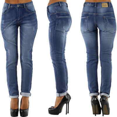 Damen Jeans Ripped Frayed Push-Up Linien Risse Stretch 32 34 36 38 XXS XS S