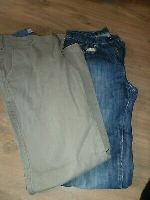 """2 x Trousers Beige chinos & Blue jeans W30"""" L30"""""""
