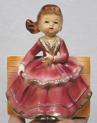 Vintage Wall Pocket Lady in Rose and Gold Dress Grant Crest Japan 1960s