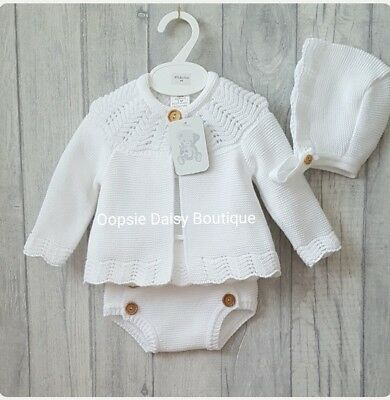 Baby Boys Girls Gorgeous Spanish Knitted 3 Piece Jam Suits with Matching Bonnet☆