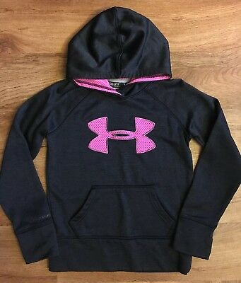 Girls UNDER ARMOUR Sweatshirt Hoodie, Small Loose Fit, Black With Pink