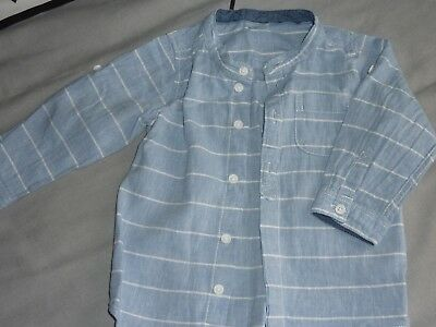 Chemise H&m T. 9/12 M Coton Bleu Rayures Blanches