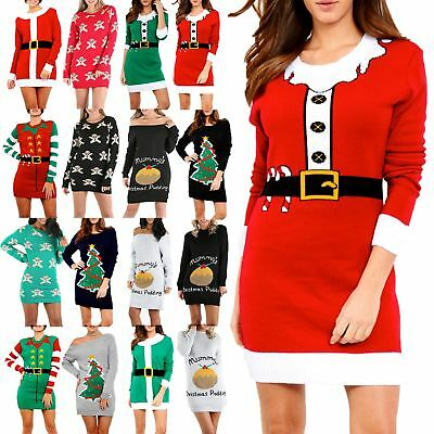 Womens Knitted Christmas Ladies Elf Costume Belted Xmas Oversized Jumper Dress