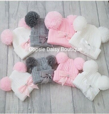 Baby Girls Lovely Knitted Double Pom Pom Ribbon Hats ☆ Newborn & 3-12mth ☆