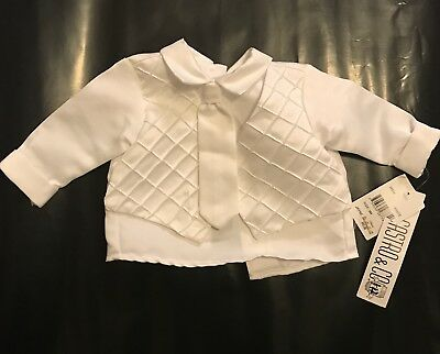 Baby Christening Shirt/Vest With Tie White Size 3 Months Infant