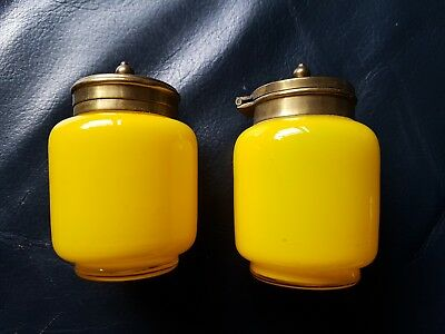 Vintage Retro Yellow Glass Pepper And Mustard Pots With Metal Lids
