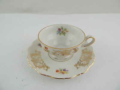 Antica Tazza E Piattino Porcellana Bavaria Seltmann Theresia Decoro Floreale