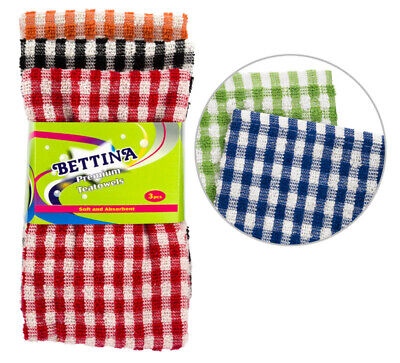 100% Cotton Pack of 3 Check Tea Towels Terry Towel Large Size Super Absorbent