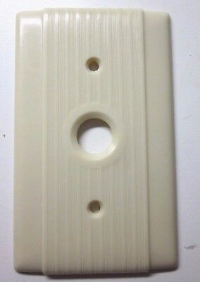 Vintage Hubbell Single Push Switch Plate Cover Ribbed Lines Beige Bakelite Deco