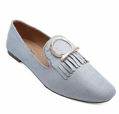 Womens Silver Flat Slip-On Loafers Casual Faux Suede Work Shoes Pumps Sizes 3-8