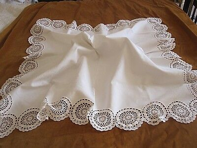 Lovely Vintage 100% Cotton Tablecloth With Hand Crochet Lace Edging
