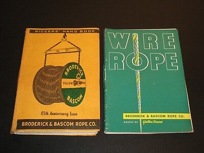 Broderick & Bascom Rope Co Riggers Handbook & Wire Rope Lot 2 1955 1961 Railroad