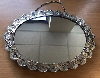Vintage hanging Oval Silver 900 Mirror