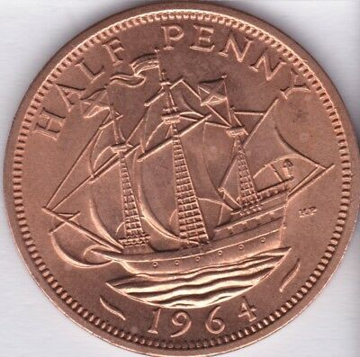 1964 UNCIRCULATED 1/2p Half Penny Coin British