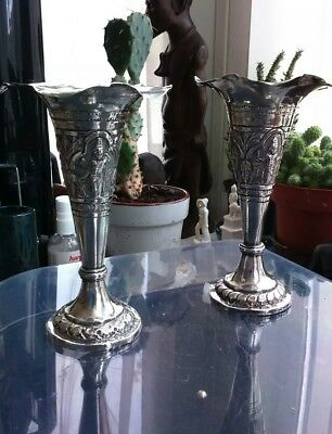 PAIR OF INDIAN SILVER ROSE SPILL VASES. TOTAL WEIGHT = 189.6 gms.