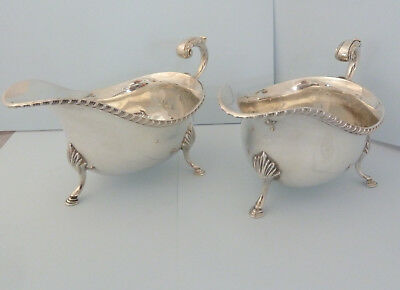 Pair ASPREY Solid SILVER Sauce Boats. Sheffield 1966. Good Size. 532g