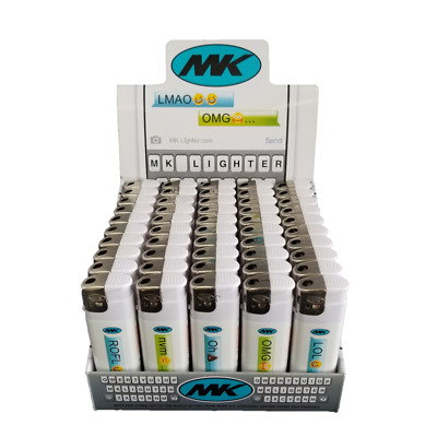 50 Chat Full Size MK Electronic Disposable Cigarette Lighters,Neon Butane 5X 11X
