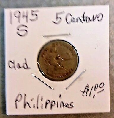 1945 S Philippines 5 Cent coin