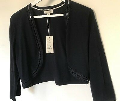 Monsoon Ladies Navy Knitted Bolero. Size Large. Brand New With Tags.