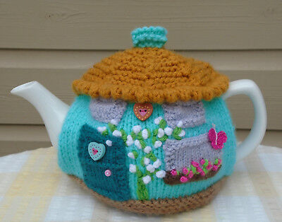 Hand Knitted Cottage Tea Cosy  For A Medium Teapot Crochet Butterfly