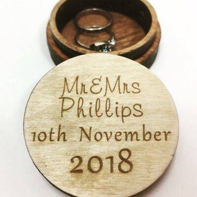 Laser Engraved Plywood Personalised Ring Box, Wedding Gift, Unique