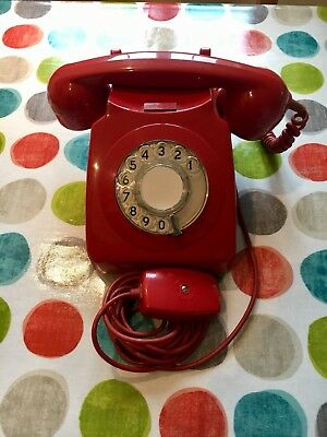 GPO 746 1974 Vintage Original Red Corded Rotary Telephone