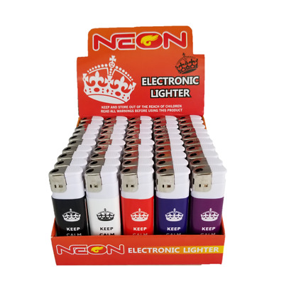 50 Full Size Neon Electronic Disposable Cigarette Cigar Lighters, All Purpose