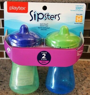 2 - Playtex 9oz Plastic Baby Spill Proof Sippy Spout Cup (Colors May Vary)