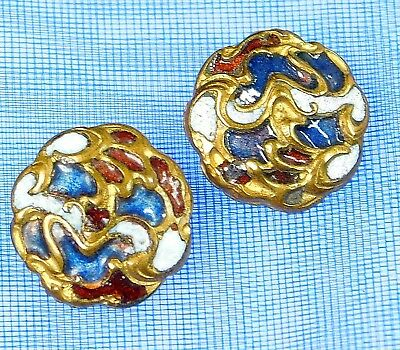 PAIR OF Antique CHAMPLEVE Enamel Buttons red white blue & gold deco 1/2 #127