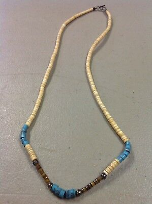 VINTAGE INDIAN NATIVE AMERICAN JEWELRY- Beaded Necklace Seashells Turquoise Colo