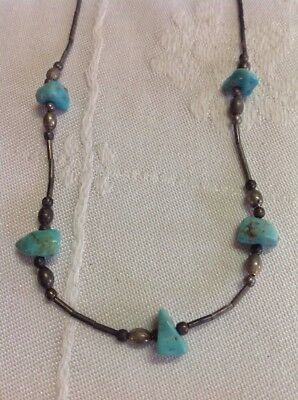 VINTAGE INDIAN NATIVE AMERICAN JEWELRY- Necklace Sterling Silver Turquoise