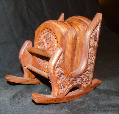 Wooden Rocking Chair with Wooden Carved Coasters