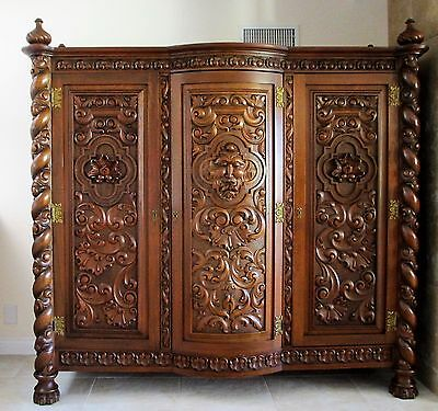 Antique Spanish Baroque Colonial Wardrobe Circa 1925 Hand Carved Red Cedar Wood