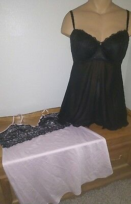 Size XL Lingerie Teddie Lot Of 2!!! Black And Pink