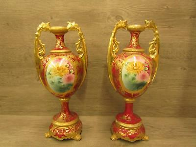 Pair of Vintage Red With Gold Accents Hand Painted Dual Handled Footed Vases