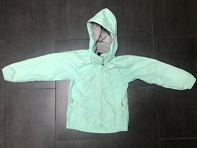 GIRLS: The North Face Tailout Rain Jacket, Teal/Mint Green - Size 6/6T