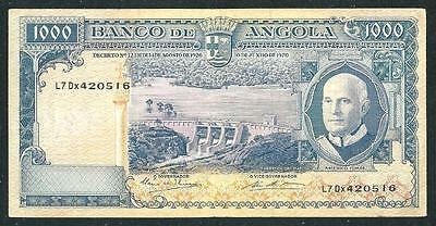 "Angola 1970 One Thousand Escodos Banknote ""scarce Au""  # 3927, $1.00 Usa Ship"