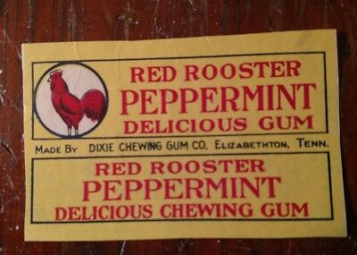 RARE Antique RED ROOSTER PEPPERMINT CHEWING GUM WRAPPER Elizabethton, Tennessee