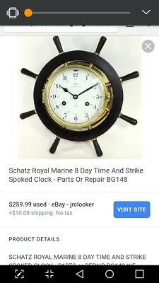 Vintage Schatz Royal Mariner Clock ships wheel
