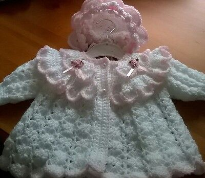 Hand Made Crochet Matinee  Coat Bonnet 0/3