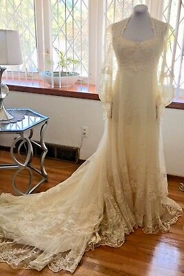 NWT VTG 60s 70s Pearls Lace *Sz 12* Ivory Boho Hippie Trained Wedding Gown Dress