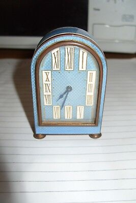 "clock parts SMALL  TIME PIECE   FRENCH ? 3"" X 2"" X 1"" KEY  WOUND ENAMEL / BRASS"