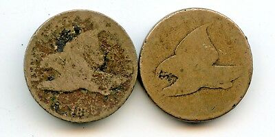 (2) FLYING EAGLE CENTS  ~NO DATE & AG (1858)~  *hucky*