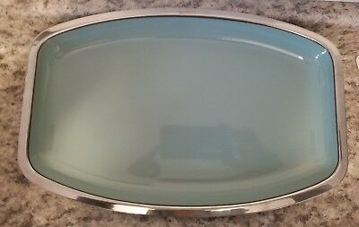 Catherineholm Serving Tray Platter Vintage MCM Mid Century Retro Blue Enamel