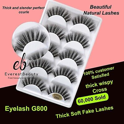 💙NEW 5 Pair 3D Mink False Eyelashes Wispy Cross Long Thick Soft Fake Eye Lashes